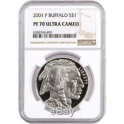 2001-p Buffalo Preuve Commémorative En Argent D'un Dollar Pièce De Monnaie Ngc Pf70 Ultra Cameo