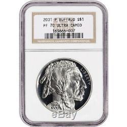 2001-p Us American Buffalo Preuve Commémorative Silver Dollar Ngc Pf70 Ucam