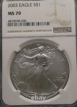 2003 Ngc Ms70 Certifié American Silver Eagle Dollar $1 Scuffs Sur Le Titulaire