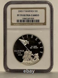 2005 P Marine Corps Argent Proof Dollar Ngc Pf70 Ultra Cameo