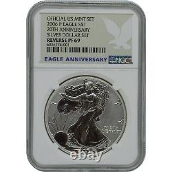 2006 P 20e Anniversaire Preuve Inverse Silver Eagle Un Dollar Pièce Ngc Pf69
