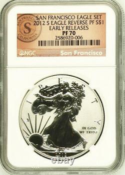 2012 S Eagle Us San Francisco Set Silver Dollar $1 Ngc Pf70 Reverse Proof Er