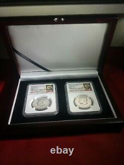 2014 P&d Kennedy 50e Anniv. Ncg Sp69 Clad High Relief Demi-dollar Set # 02 &05