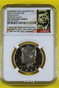 2014 Pf70 50e Anniversaire D'argent Kennedy Half Dollar Set Withogp & Coa