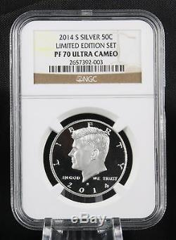 2014 S Argent Kennedy Half Dollar Limited Edition Proof Set Ngc Pf 70