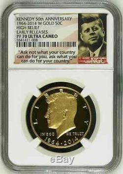 2014 W Or Kennedy 50e Anniversaire Relief Ngc Pf70 Uc Er Half Dollar 50c