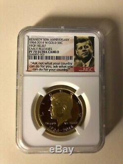 2014 W Or Kennedy Half Dollar 50 E Anniversaire Ngc 70 Preuve De Libération Anticipée