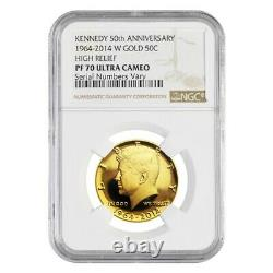 2014-w 3/4 Oz Gold Kennedy Half Dollar Proof High Relief Ngc Pf 70 Ucam