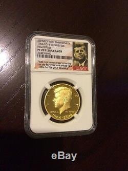 2014-w Ngc Pr70 Or Kennedy Half Dollar Anniversaire Proof Coin Pr70