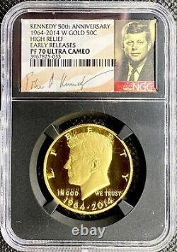2014-w Or Kennedy High Relief Demi-dollar Pf70 Ucam Ngc Les Premières Versions Signed