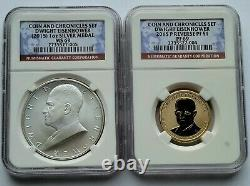 2015 P Ngc Pf69 & Ms69 Dwight Eisenhower Inverse Proof Coin & Chronicles Set