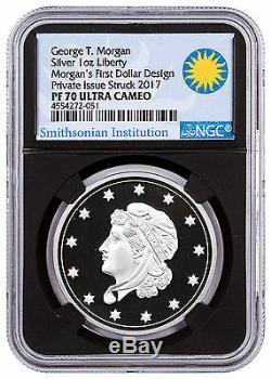 (2017) Smithsonian Morgan Première Argent Dollars 1 Oz D'argent Ngc Pf70 Blk Sku47351