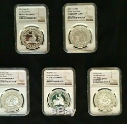 2018 2020 Dollar Niue Argent Commerce 5 Pièces Set Us / GB / Ch / Jp / Fr Ngc Pf70uc