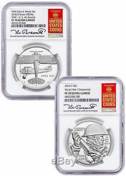 2018 Argent Centennial Dollar Première Guerre Mondiale W Médaille Du Service Aérien Ngc Pf70 Bressett Sku58152