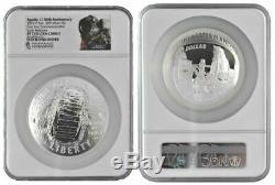 2019 Apollo 11 50e Anniversaire 5 Oz Preuve Commémorative Silver Dollar Ngc Pf-70