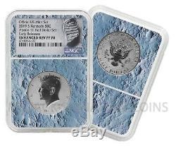 2019 Apollo 11 50e Anniversaire Half Dollar 2 Coin Set Ngc 70 Lune Noyau Er