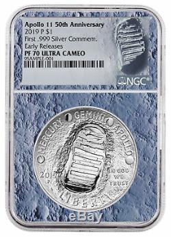 2019 Apollo 11 50e Commem Silver Dollar Ngc Pf70 Er Lune De Base Sku56543