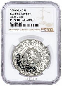 2019 Niue 1 Oz D'argent $ 1 Dollar Commerce Japonais Preuve Ngc Pf70 Uc Sku58796