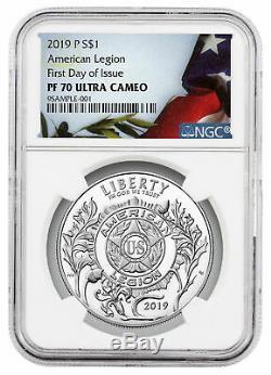 2019 P American Legion 100 Silver Dollar Ngc Pf70 Uc Fdi Flag Liberté Sku57816