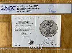 2019 S $1 Enhanced Reverse Proof American Silver Eagle Dollar Ngc Pf69 Coa