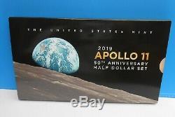2019 S Apollo 11 50e Anniversaire Demi-dollar Set Ngc Er Pf70 + Erreur Ogp