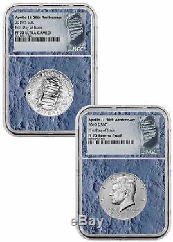 2019 S Apollo 11 Clad Demi-dollar Amélioré Ensemble Ngc Pf70 Ide Lune De Base Sku56551