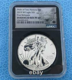 2019 W Ngc Pf 69 Enhanced Reverse Proof Pride Of 2 Nations Silver Eagle Dollar