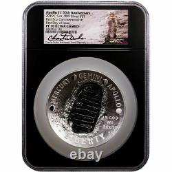 2019-p 5oz Silver Apollo 11 Dollar Commémoratif Charlie Duke Fdoi Pf70 Ucam