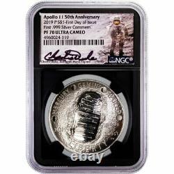 2019-p Apollo 11 1oz Argent Dollar Commémoratif Charlie Duke Signature Pf70ucam