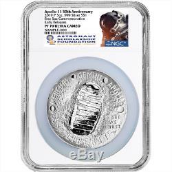 2019-p Preuve 1 $ Apollo 11 50th Ann 5 Oz Silver Dollar Ngc Pf70uc Asf Er Étiquette