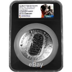 2019-p Preuve 1 $ Apollo 11 50th Ann 5 Oz Silver Dollar Ngc Pf70uc Asf Er Re Étiquette