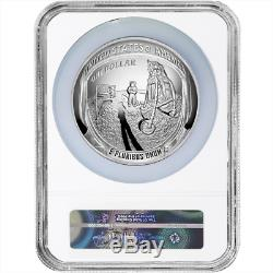 2019-p Preuve 1 $ Apollo 11 50th Ann 5 Oz Silver Dollar Ngc Pf70uc Bleu Er Étiquette