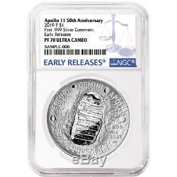 2019-p Preuve 1 $ Apollo 11 50th Ann Silver Dollar Ngc Pf70uc Bleu Er Étiquette