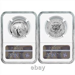 2019-s 50c Apollo 11 50th Ann. 2pc Demi-dollar. Ensemble Ngc Pf70 Ide Première Étiquette