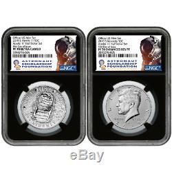 2019-s 50c Apollo 11 50th Ann. 2pc Demi-dollar. Set Ide Ngc Pf70 Asf Étiquette Rétro