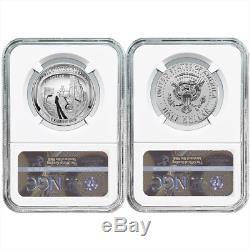 2019-s 50c Apollo 11 50th Ann. 2pc Demi-dollar. Set Ngc Pf70 Bleu Er Étiquette