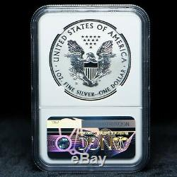 2019-s Amélioré Preuve Inverse Dollar Américain Silver Eagle Ngc Graded Pf 70