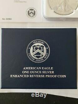 2019-s Dollar Silver Eagle Enhanced Proof Inverse Ngc Pf70 En Low Coa # 02060
