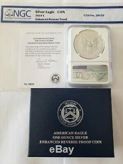 2019-s Dollar Silver Eagle Enhanced Proof Inverse Pf70 Ngc Première Coa De Presse