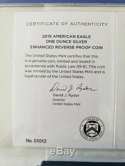 2019-s Silver Eagle Dollar Amélioré Preuve Inverse Pf70 Ngc Low Coa # 01012