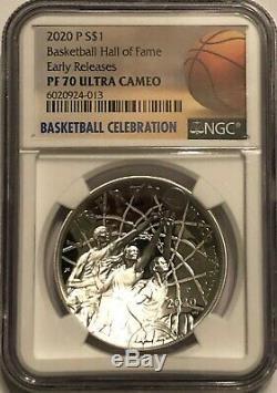 2020 $ 1 Basketball Silver Dollar Hall Of Fame Ngc Pf70 Ucam Communiqués Tôt. 999