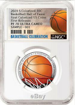 2020 Basketball Hof Colorisation Preuve Demi-dollar, Ngc Pf70 Uc, First Release