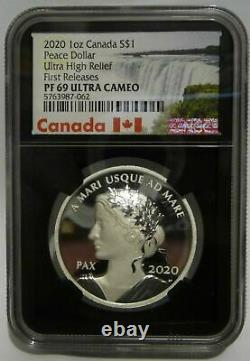 2020 Canada 1 Oz Ultra High Relief Silver Dollar Peace Proof $ 1 Pièce Ngc Pf69 Uc