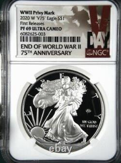 2020 Fin De La Seconde Guerre Mondiale V75 Silver American Eagle Proof Ngc 69 Uc En Stock