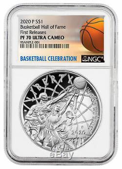 2020 P 1 $ Basketball Hall Of Fame Silver Dollar Proof Ngc Pf70 En Prévente