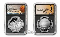 2020 P Basketball Hof Signé Par Abdul-jabbar. Silver Dollar Premier Jour Ngc Pf70