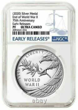 2020 P Fin De La Seconde Guerre Mondiale 2 II 75e Anniversaire 1oz Médaille D'argent Eagle Ngc Pf69