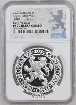 2020 Royal Dutch Mint Re-strike Lion Dollar 1 Oz. 9999 Argent Ngc Pf70 Uc Er