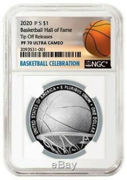 2020 S Basketball Hof Dollar En Argent Épreuve Coin Presale Ngc Pf70
