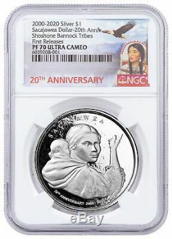 (2020) Shoshone Sacajawea Dollar Autre Design 1 Oz D'argent 1 $ Ngc Pf70 Uc Fr